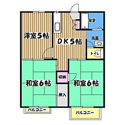東京都青梅市長淵5丁目の賃貸アパートの間取り