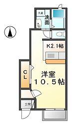 愛知県清須市助七五反田の賃貸アパートの間取り