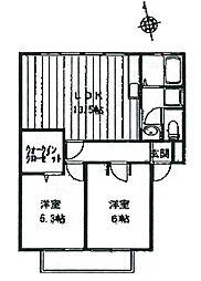 兵庫県たつの市龍野町下霞城の賃貸アパートの間取り