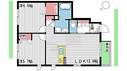 兵庫県高砂市米田町米田の賃貸アパートの間取り