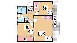神鉄粟生線 西鈴蘭台駅 徒歩15分の賃貸マンション 1階2LDKの間取り