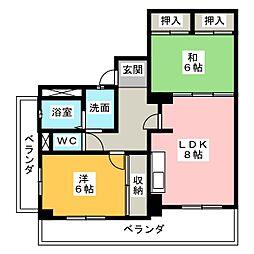 レインボー青柳[5階]の間取り