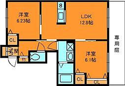 奈良県香芝市逢坂1丁目の賃貸アパートの間取り