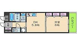 大阪府大阪市阿倍野区松虫通3丁目の賃貸マンションの間取り