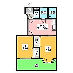 カーサデュオB[1階]の間取り