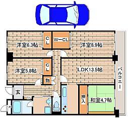 兵庫県神戸市東灘区本山北町1丁目の賃貸マンションの間取り