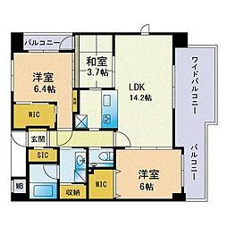 アクシオン箱崎東グラージュ 8階3LDKの間取り