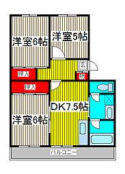 原マンション[2階]の間取り