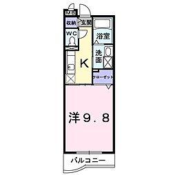 JR宇野線 大元駅 徒歩10分の賃貸マンション 3階1Kの間取り