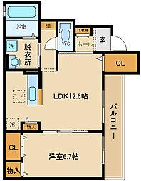 大阪府八尾市東山本町8丁目の賃貸アパートの間取り