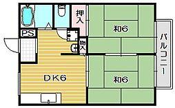 大阪府高槻市西冠3丁目の賃貸アパートの間取り