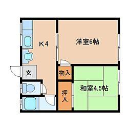 奈良県奈良市三条大宮町の賃貸アパートの間取り
