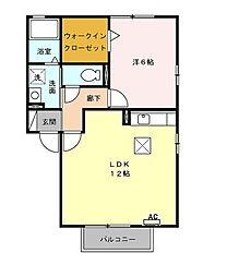 愛知県名古屋市瑞穂区亀城町3丁目の賃貸アパートの間取り