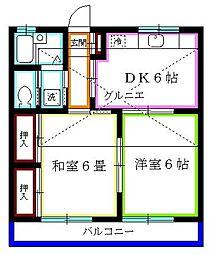 埼玉県新座市野寺4丁目の賃貸アパートの間取り