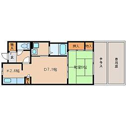 近鉄奈良線 学園前駅 徒歩5分の賃貸マンション 1階1DKの間取り