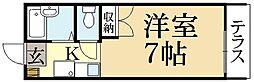京都府京都市左京区岩倉西河原町の賃貸アパートの間取り