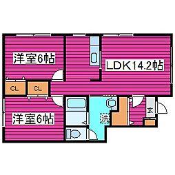 北海道札幌市東区東苗穂十二条3丁目の賃貸アパートの間取り