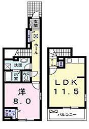 滋賀県近江八幡市千僧供町の賃貸アパートの間取り