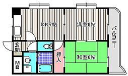 大阪府堺市堺区南丸保園の賃貸マンションの間取り