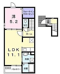JR予讃線 端岡駅 徒歩32分の賃貸アパート 2階1LDKの間取り