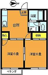 埼玉県志木市柏町1丁目の賃貸アパートの間取り