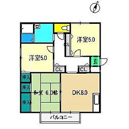 ファミール・ビレジ A棟[2階]の間取り