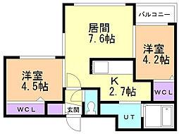 Lunon Sapporo Sta. 2階2LDKの間取り