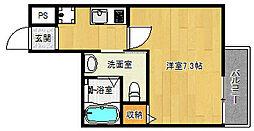 京都市営烏丸線 北大路駅 徒歩20分の賃貸マンション 3階1Kの間取り