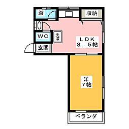 スカイハイツ富第1[2階]の間取り