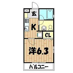 プランドール・HANA[203号室]の間取り