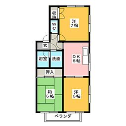 戸崎南ハイツA[1階]の間取り