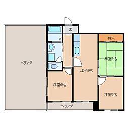奈良県葛城市尺土の賃貸マンションの間取り