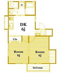 プリムヴェールB[1階]の間取り