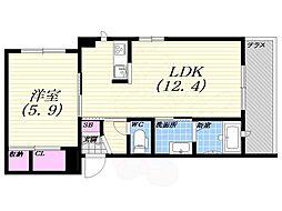 阪神本線 甲子園駅 徒歩9分の賃貸マンション 1階1LDKの間取り