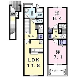 愛知県豊田市御船町山屋敷の賃貸アパートの間取り