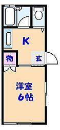 明和コーポB棟(東中山1)[206号室]の間取り