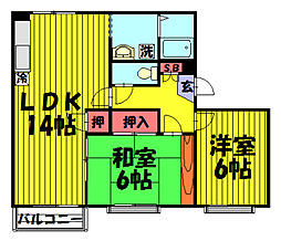 伊草ビューハイツB棟[301号室]の間取り
