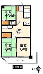 深井マンション[702号室]の間取り