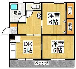 ガーベラマンション田主丸[3階]の間取り