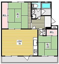 富田第二住宅62棟[5階]の間取り