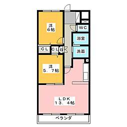 ファミール[4階]の間取り