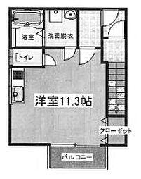 城の下3丁目アパート 1階ワンルームの間取り
