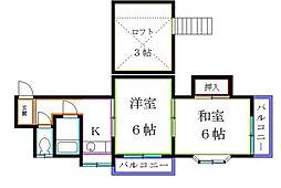 東京都東久留米市神宝町1丁目の賃貸アパートの間取り