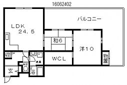 シャトー住道[4階]の間取り