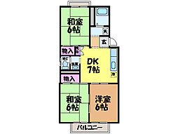 愛媛県松山市正円寺2丁目の賃貸アパートの間取り