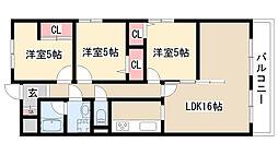 愛知県名古屋市緑区鳴海町字小森の賃貸マンションの間取り
