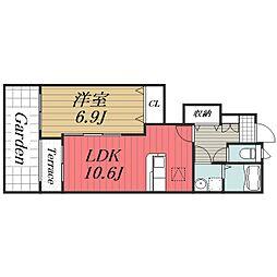 JR総武本線 榎戸駅 徒歩20分の賃貸アパート 1階1LDKの間取り