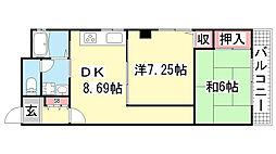 ハイツニュータカトリ[3階]の間取り