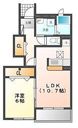 愛知県豊明市三崎町中ノ坪の賃貸アパートの間取り