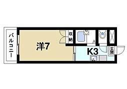 パインハイツ桜井 2階1Kの間取り